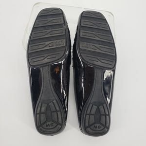 Stuart Weitzman Shoes - Stuart Weitzman Black Patent Leather Buckle Mules